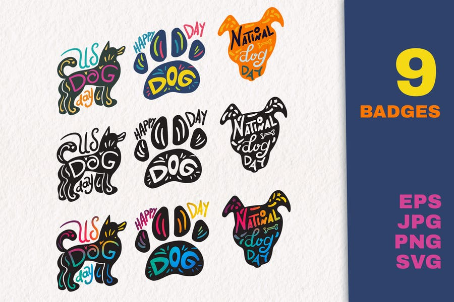 National Dog Day Badges Set
