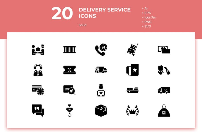 Thumbnail for 20 Delivery Service Icons (Solid)