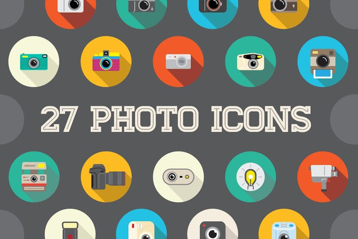 Thumbnail for 27 Vector Photo Flat Icons Set