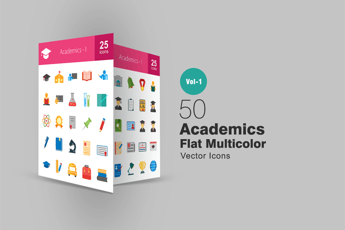 Cover Image For 50 Academics Flat Multicolor Icons