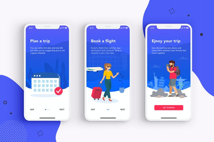 Thumbnail for 3 Onboarding screens concept for Travel apps.