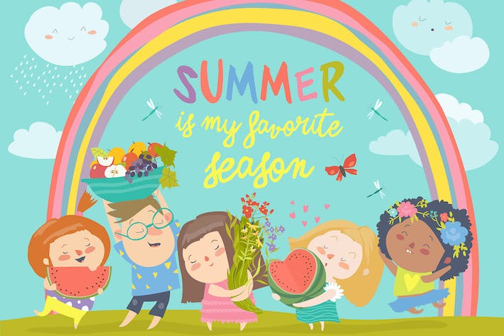 Thumbnail for Cartoon children with flowers and fruits. Vector