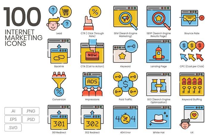 Thumbnail for 100 Internet Marketing Icons | Ästhetik Serie