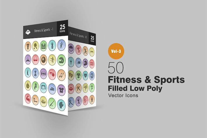 Thumbnail for 50 Fitness & Sport Gefüllte Low Poly Icons