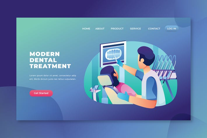 Thumbnail for Modern Dental Treatment - PSD and AI Landing Page
