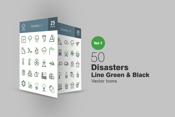 Thumbnail for 50 Disasters Green & Black Line Icons