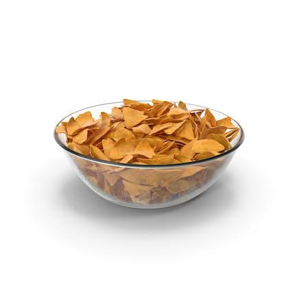 Bowl with Corn Tortilla Nacho Chips