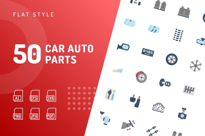 Thumbnail for Car Auto Parts Flat Icons