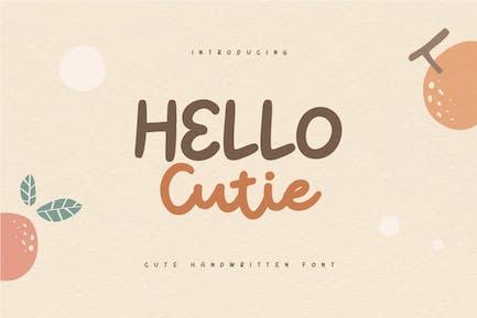 Hello Cutie - Mignon citations manuscrites Police