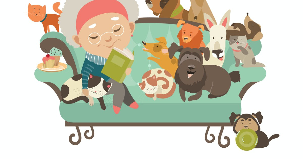 Download Old woman with her cats and dogs. Vector by masastarus