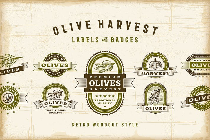 Thumbnail for Juego de etiquetas Vintage de olivo.
