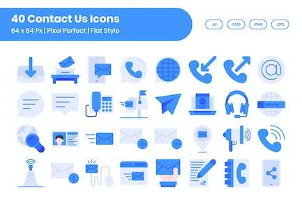 40 Contact Us Icons Set - Flat