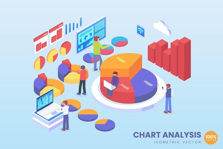 Isometric Chart Analysis Vector Concept