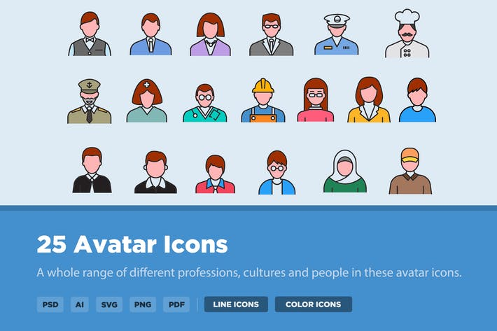Cover Image For 25 Avatar Icon Set