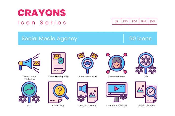 Thumbnail for 90 Social Media Agency Icons   Crayons Series