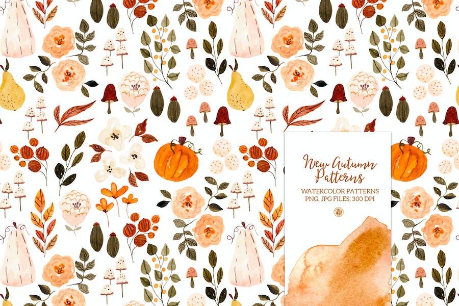 New Autumn Patterns - watercolor set