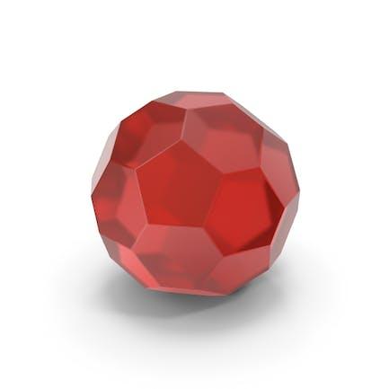 Стеклянный шестигранный шар красный
