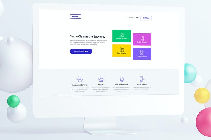 Thumbnail for Cleaning Service Landing Page PSD Template