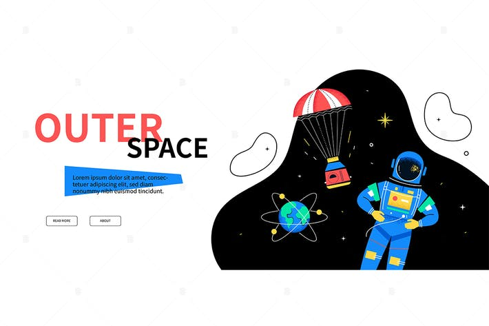 Thumbnail for Outer space - flat design style web banner