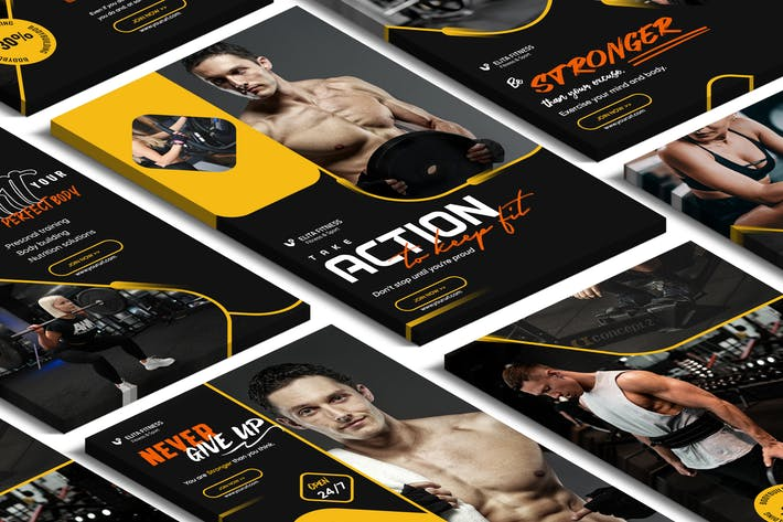 Cover Image For Fitness, Yoga Pinterest PSD Template