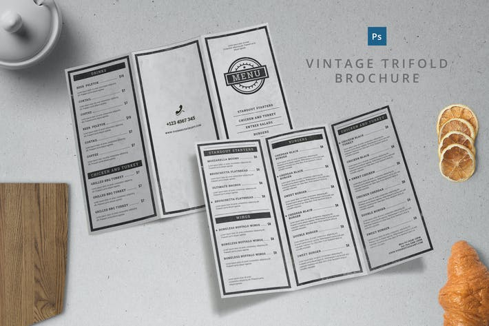 Thumbnail for Vintage Menu Trifold Brochure