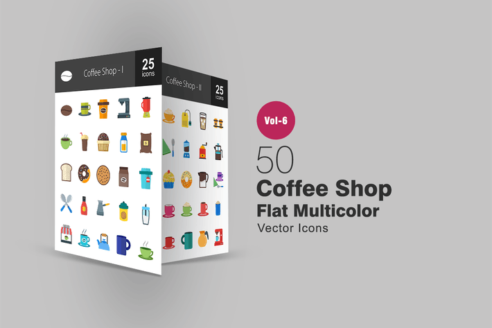 Cover Image For 50 Coffee Shop Flat Multicolor Icons
