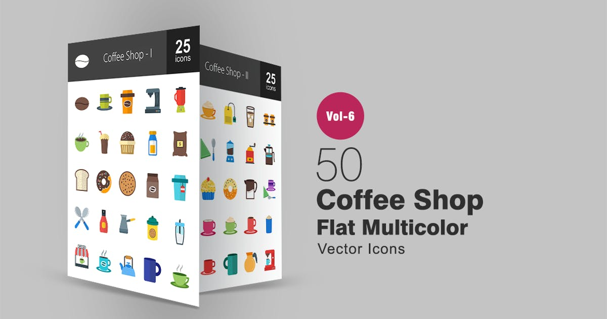 Download 50 Coffee Shop Flat Multicolor Icons by IconBunny