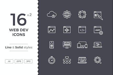 Íconos de desarrollo web