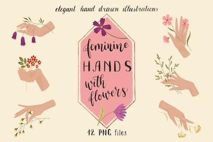 Elegant Feminine Hands with Flowers