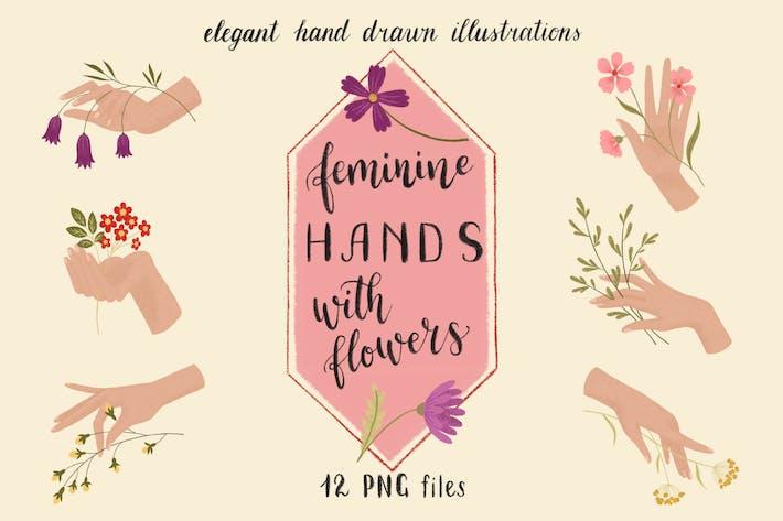 Thumbnail for Elegant Feminine Hands with Flowers