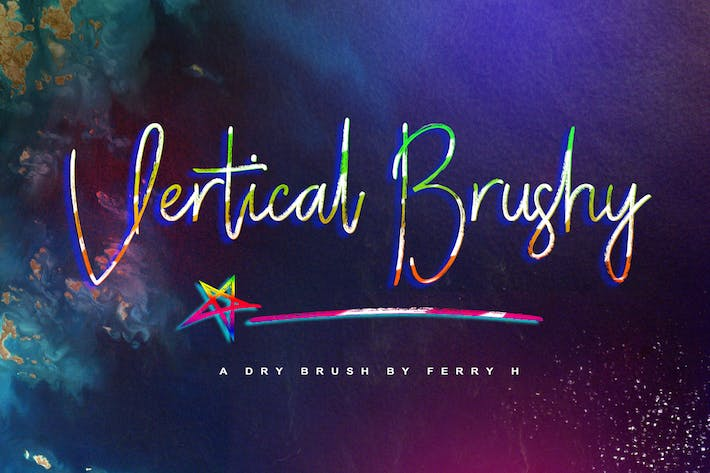 Thumbnail for Vertical Brushy - Dry Brush Typeface