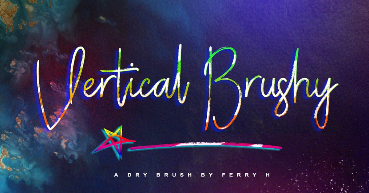 Vertical Brushy - Dry Brush Typeface by Voltury