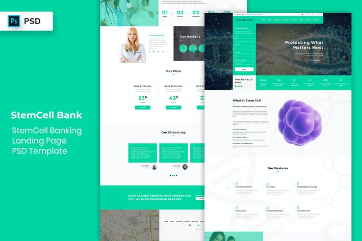 Thumbnail for StemCell Banking - Landing Page PSD Template