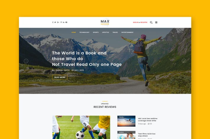 Thumbnail for Magazine Website PSD Template