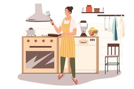 Mujer cocina en casa concepto web cocina