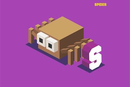 S for spider. Animal Alphabet
