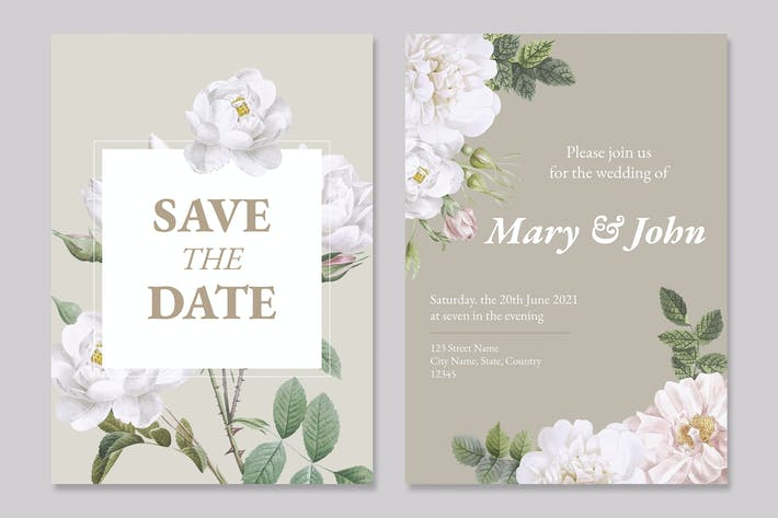Thumbnail for Floral wedding invitation card Template