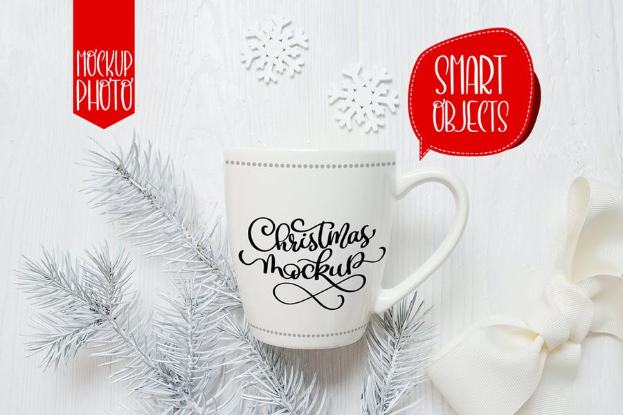 Christmas mug and letter mock ups
