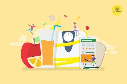 Concepto Vector del Programa de Dieta Saludable Equilibrada