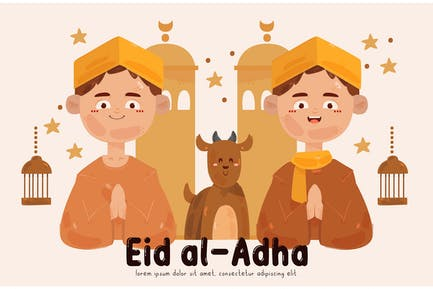 Gente celebrando la ilustración de Eid Al-Adha (2)