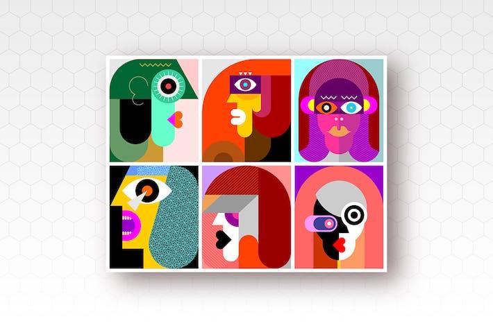 6 человек Портреты вектор иллюстрация