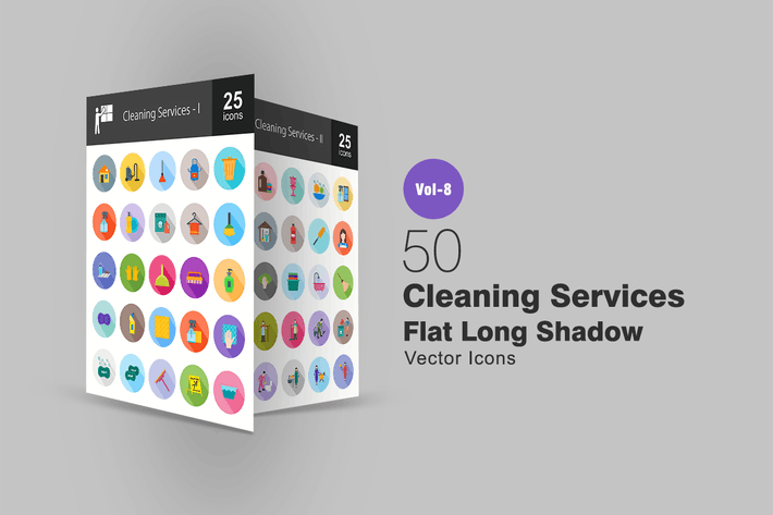 Thumbnail for 50 Cleaning Services Flat Shadowed Icons