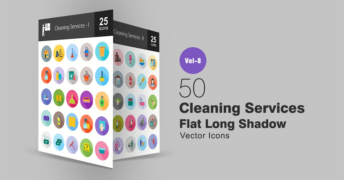 Download 50 Cleaning Services Flat Shadowed Icons by IconBunny