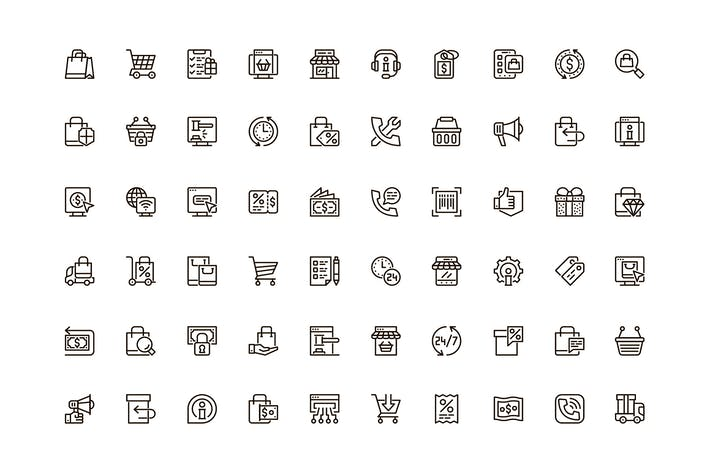 E-Commerce-Einmaliges Webline-Icons -Paket
