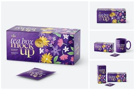 Tea Box and Tea Bag Mockup Set