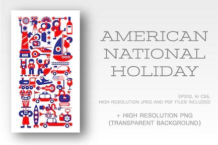 American National Holiday vector illustration