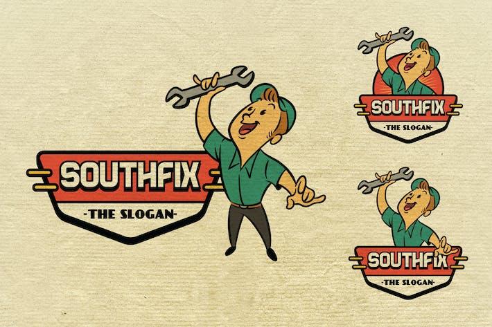 Thumbnail for Retro Vintage Repairman oder Handyman Maskottchen Logo