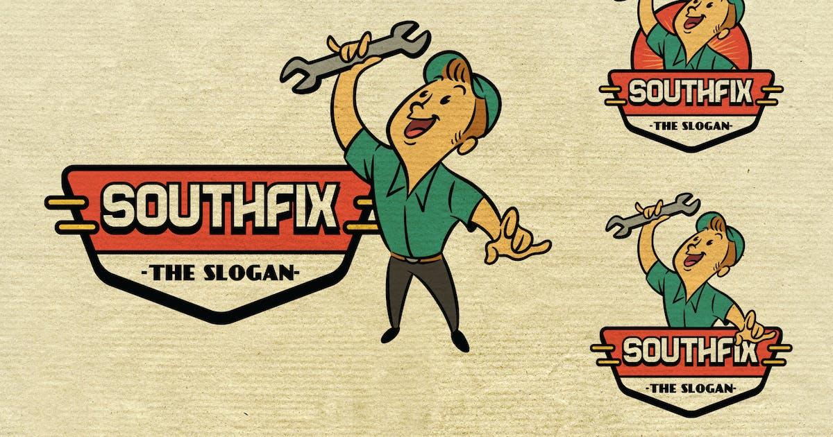 Download Retro Vintage Repairman or Handyman Mascot Logo by Suhandi