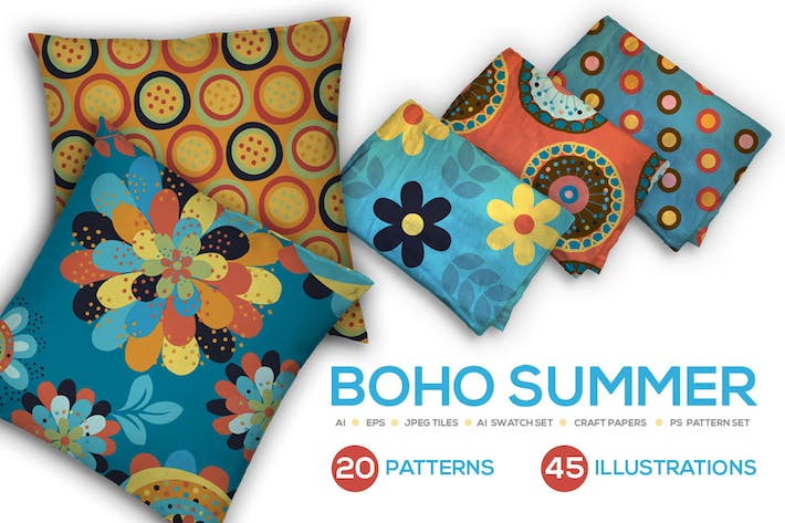 Cover Image For Boho Summer Seamless Vector Patterns