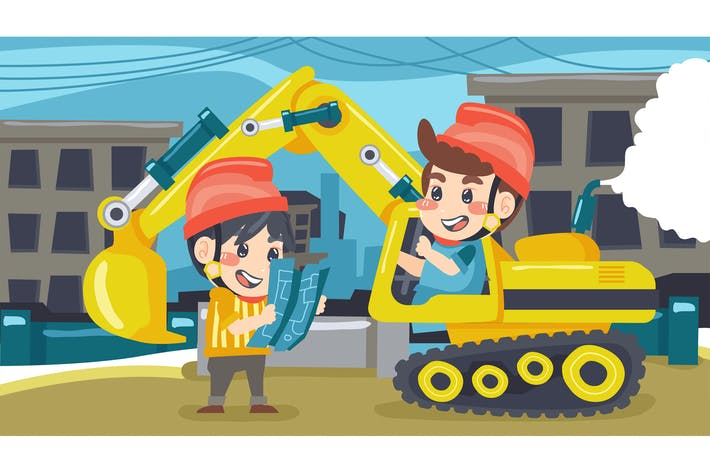 Thumbnail for Excavator Technician Kids Illustration